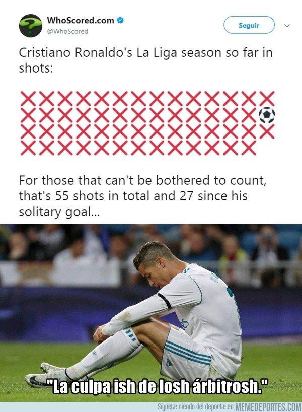 Estos son los últimos remates de Cristiano a puerta, 55 y 27 desde el último gol