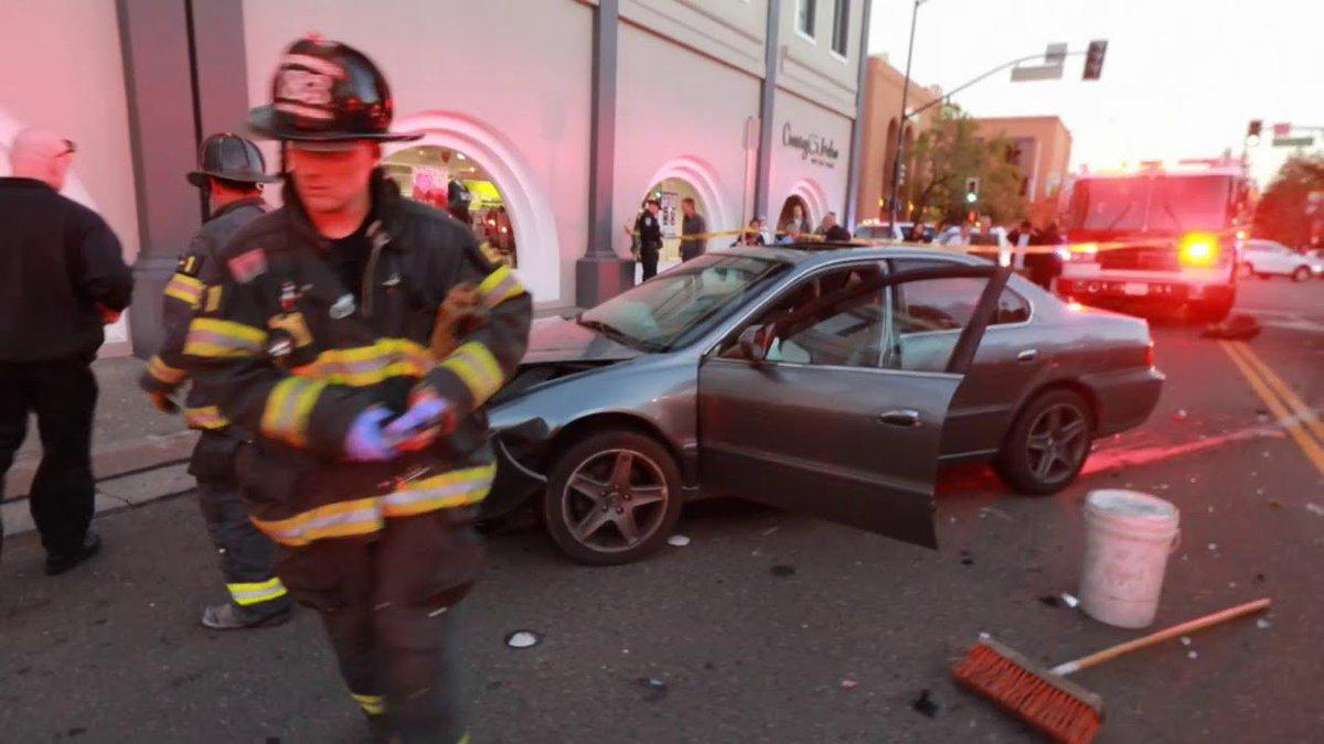 Car Plows Through Crossing the Jordan in Santa Rosa