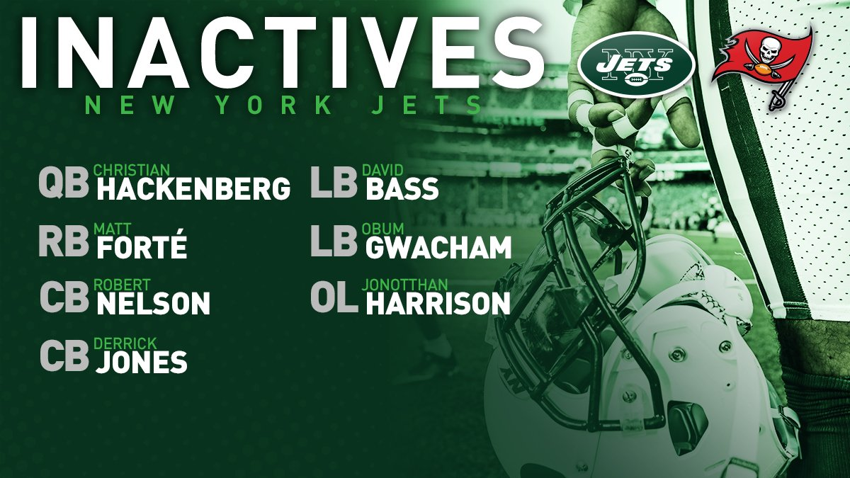 CB Mo Claiborne returns to the lineup.Complete #Jets inactives for #NYJvsTB ⬇️