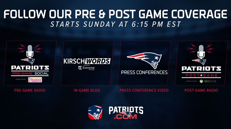 Tonight's @DunkinDonuts #Patriots Pregame Social is now live on https://t.co/fZzderp1I3! https://t.co/fqXU0P5CXE