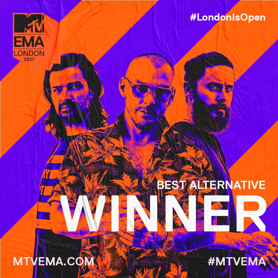 RT @mtvema: The Best Alternative award goes to @30SECONDSTOMARS https://t.co/61L1HuQpOP