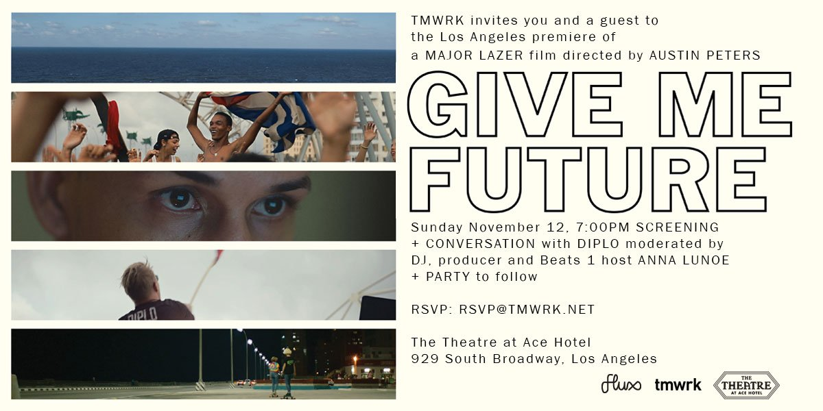 TONIGHT! GIVE ME FUTURE SCREENING W/ @DIPLO Q&A + AFTER PARTY IN LOS ANGELES  ��:https://t.co/XhOaw9GQzk https://t.co/hQtNWuEq4I