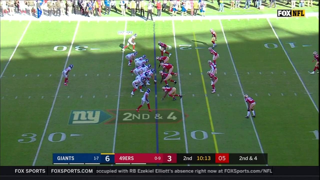 FUMBLE! @superblair gets to the QB, @E_Reid35 scoops it up. #NYGvsSF https://t.co/XEbtISTjwU