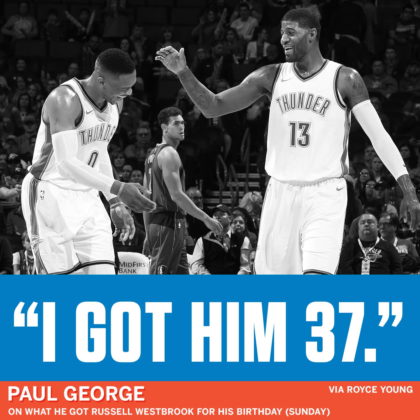 Paul George was asked if he got Russ anything for his 29th birthday: https://t.co/qCBwJxQVfk