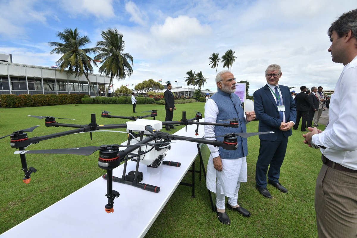 Was shown drones that could be used in the agriculture sector and help farmers.