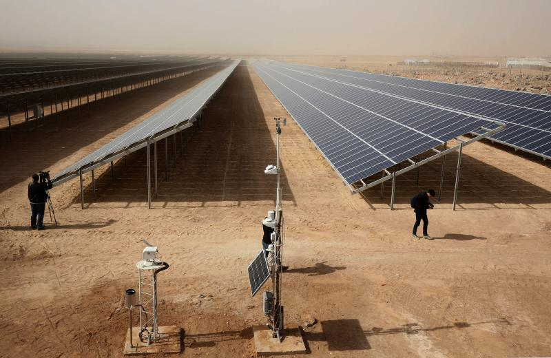 Jordan switches on world's largest solar plant in refugee camp