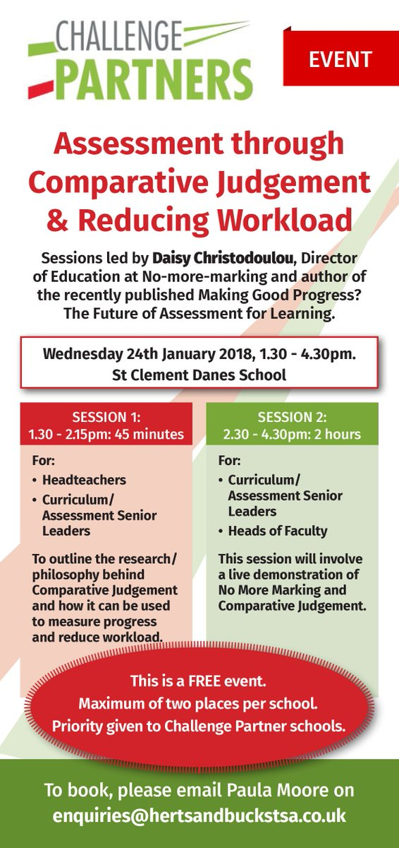 Very excited to announce a new Challenge Partners @ChallengePartnr backed event on Jan 24th @SCDSchool Comparative Judgement & Reducing Workload with @daisychristo For details and booking https://t.co/2Cccx2ji6q https://t.co/GnlrBVndUc