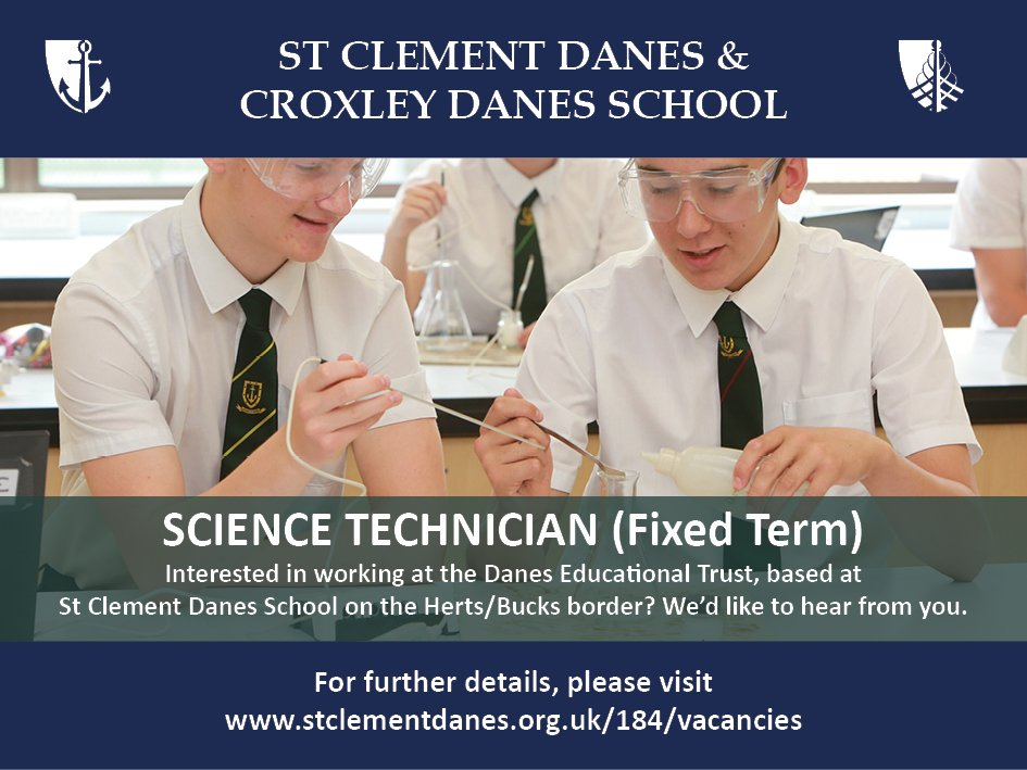 Opportunity to work as a Science Technician at the Trust, based at St Clement Danes School. Closing date: 22 Nov. Details: https://t.co/75B7jb0nmG https://t.co/5eDehQ5uhH