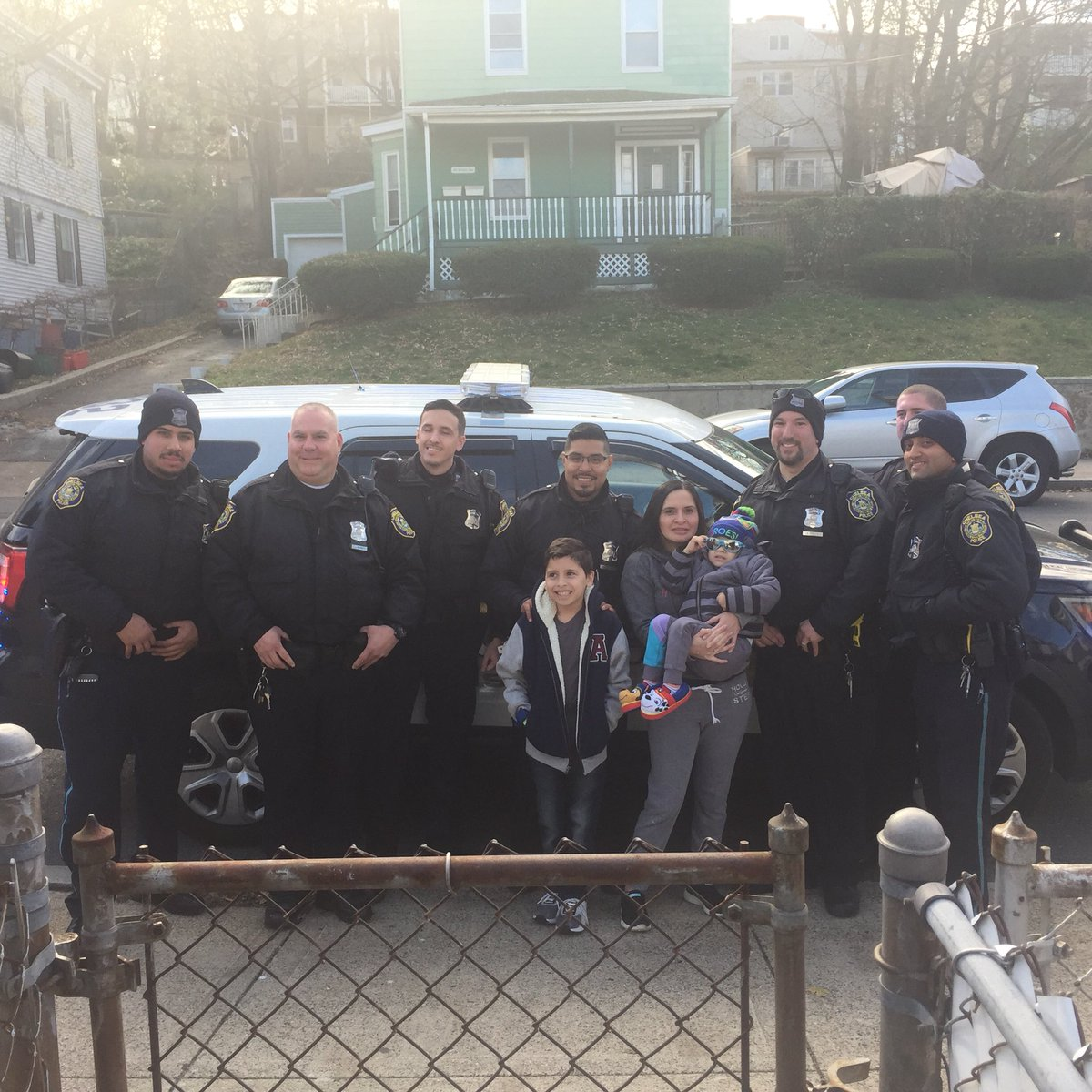 Police officers visit Massachusetts boy with brain cancer