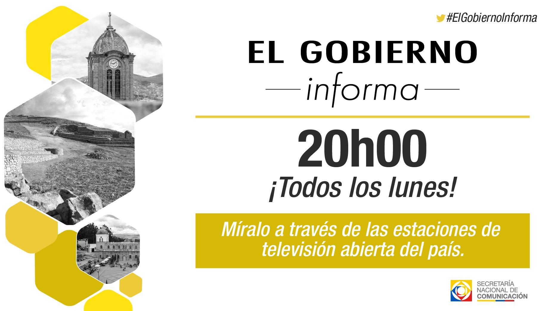 HOY 20h00 | Conoce la información gubernamental más relevante de la semana en #ElGobiernoInforma https://t.co/FShwm9IFBv