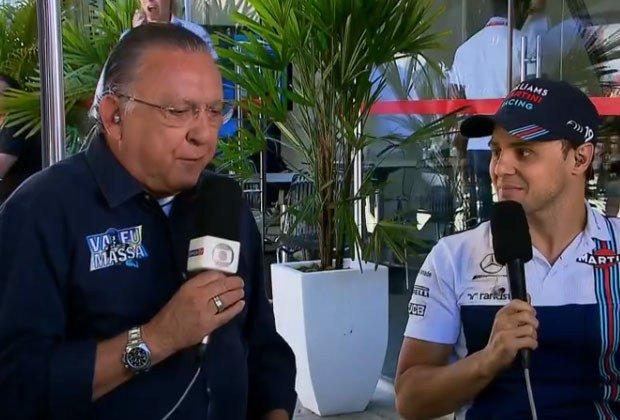 Felipe Massa. Foto do site da RD1 que mostra Galvão Bueno interrompe beijo de Felipe Massa na esposa e internet nãoperdoa