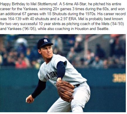 Happy Birthday to 5x All-Star pitcher Mel Stottlemyre!