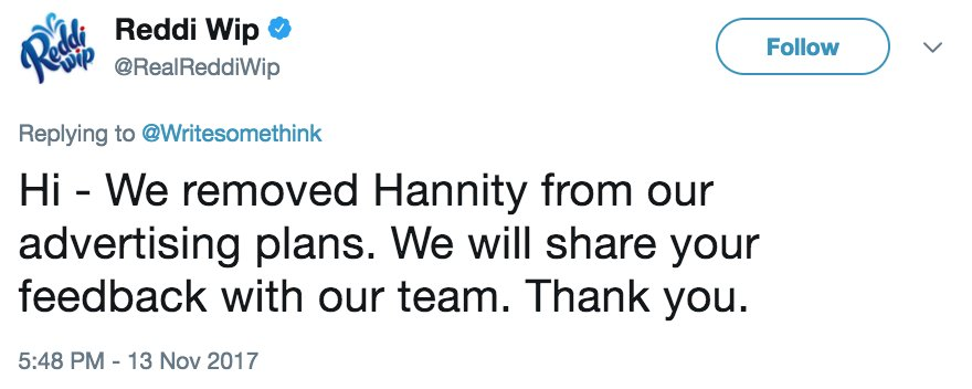 Spread the word! Confirmed: @RealReddiWip has removed their ads from Sean Hannity's show. https://t.co/bvZoZ5uCOe