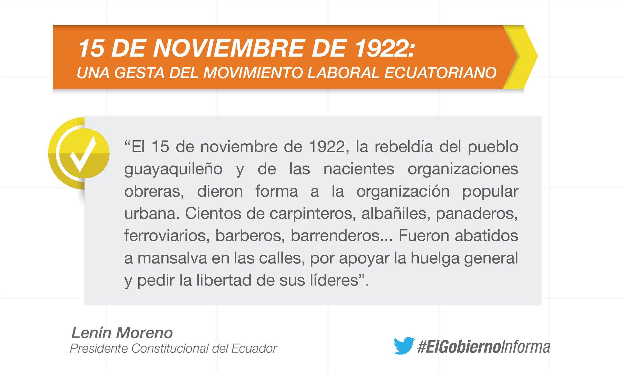 """""""Amigas y amigos: el 15 de noviembre es una fecha que nunca debemos olvidar"""", @Lenin Moreno #ElGobiernoInforma https://t.co/6bCVOt2myO"""
