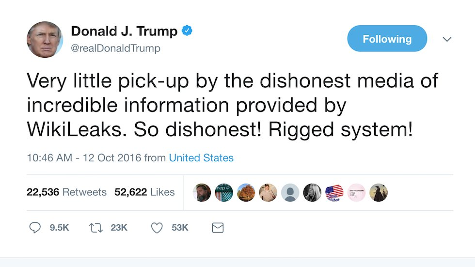 Trump tweeted about hacked Podesta emails just minutes after WikiLeaks asked him to: report https://t.co/7Pajq0P2oA https://t.co/KGn3BWFMNd