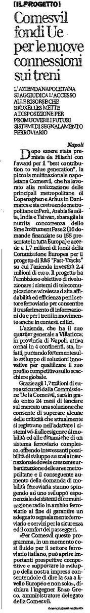 """test Twitter Media - Repubblica dedica un articolo all'azienda napoletana Comesvil che ha sbaragliato la concorrenza dello SME Instrument Fase 2 e accede a 1,7 milioni di fondi UE per il progetto di R&S """"FAST-TRACKS"""" di cui Iniziativa è advisor -> https://t.co/vm1SYSSuep https://t.co/el6RrJIm36"""
