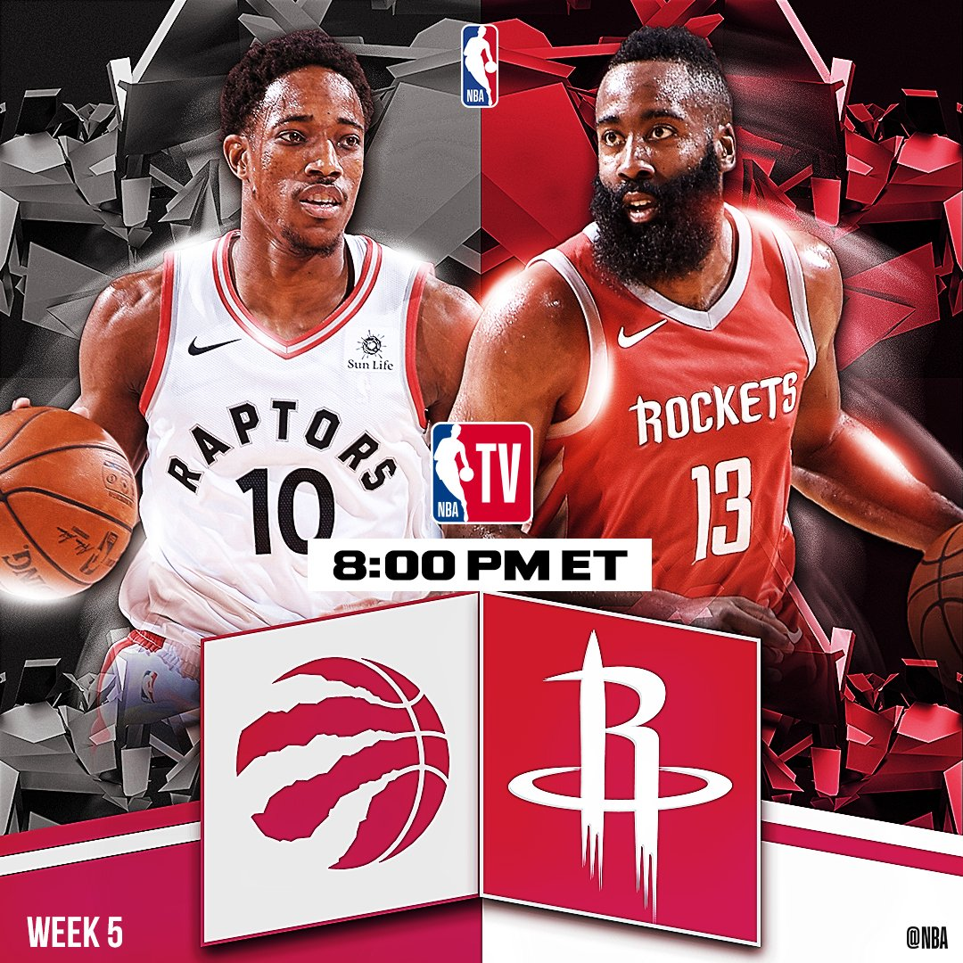 Tonight's @NBATV action features @Raptors vs. @HoustonRockets at 8pm/et!   Stats Tidbits: https://t.co/9rVVfFXQcE https://t.co/30XG9JunXi