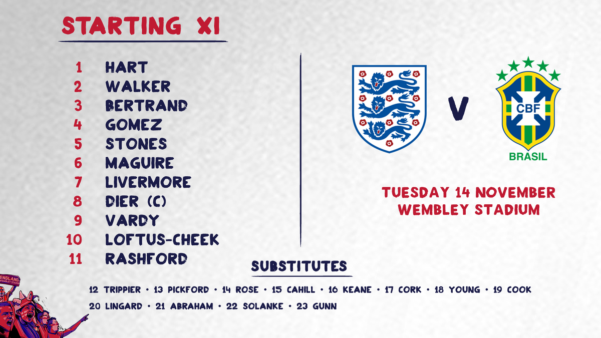 RT @England: Here's the #ThreeLions teamsheet for tonight's game against Brazil! ???? https://t.co/cFFlAp7GIB