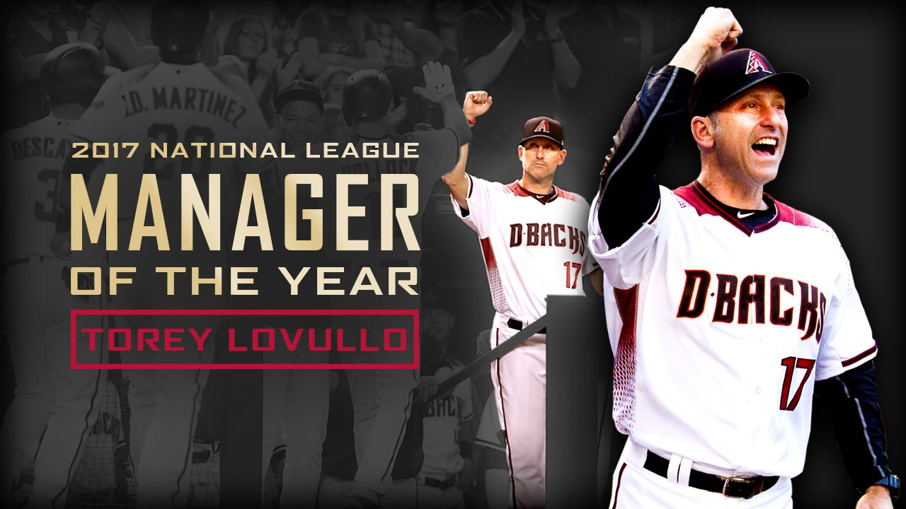 How's that for a rookie campaign?  Torey Lovullo is the NL Manager of the Year! https://t.co/bSXHDUiqCY