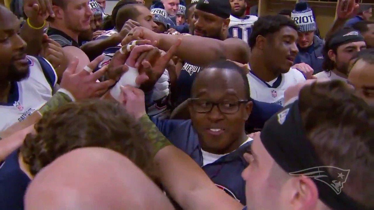 Celebrating a win on the road! Inside the #Patriots locker room after #NEvsDEN: https://t.co/33yWqXiLYi
