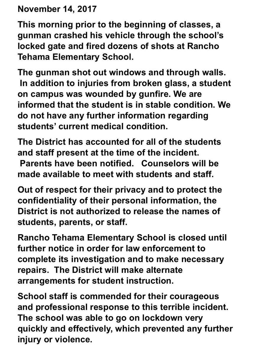 School district statement on Rancho Tehama shooting