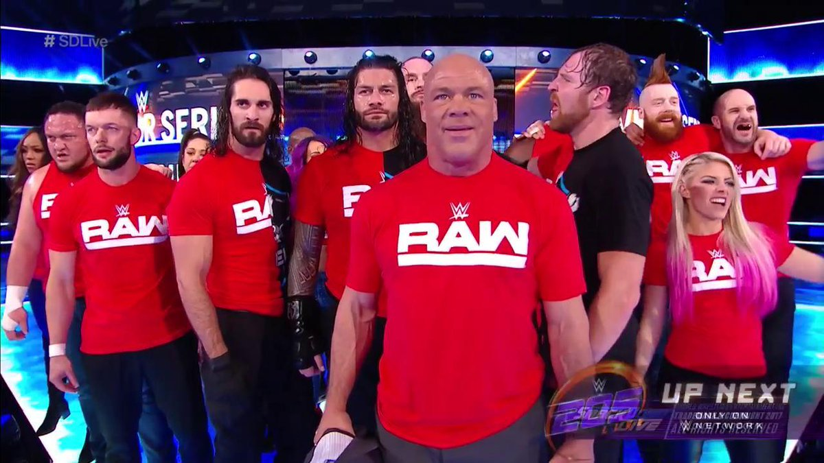 .@shanemcmahon and the entire #SDLive roster are officially SEEING RED! #UnderSiege #SurvivorSeries