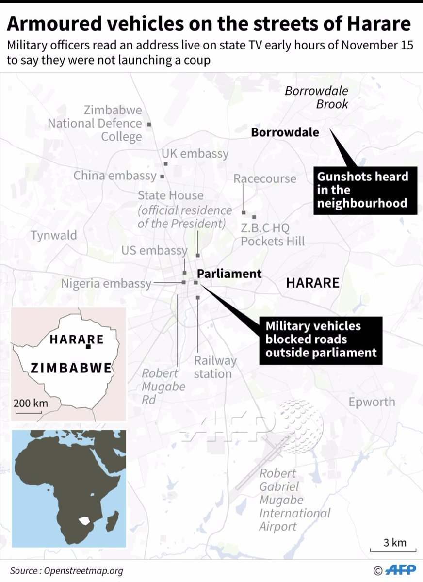 @AFP graphic on developing story in Zimbabwe. Military vehicles have blocked roads outside the parliament in Harare