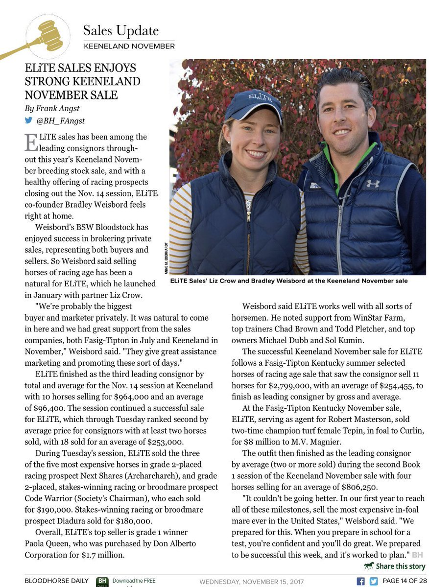 test Twitter Media - Fitting that exactly 2 years ago this week @BradWeisbord asked me to join his team at BSW and together this year we launched @EliteRaceSales. What a HUGE year for both companies! So thankful for trainers, owners, horses, and outstanding staff that have made it all happen! https://t.co/D6XjlV4KaE