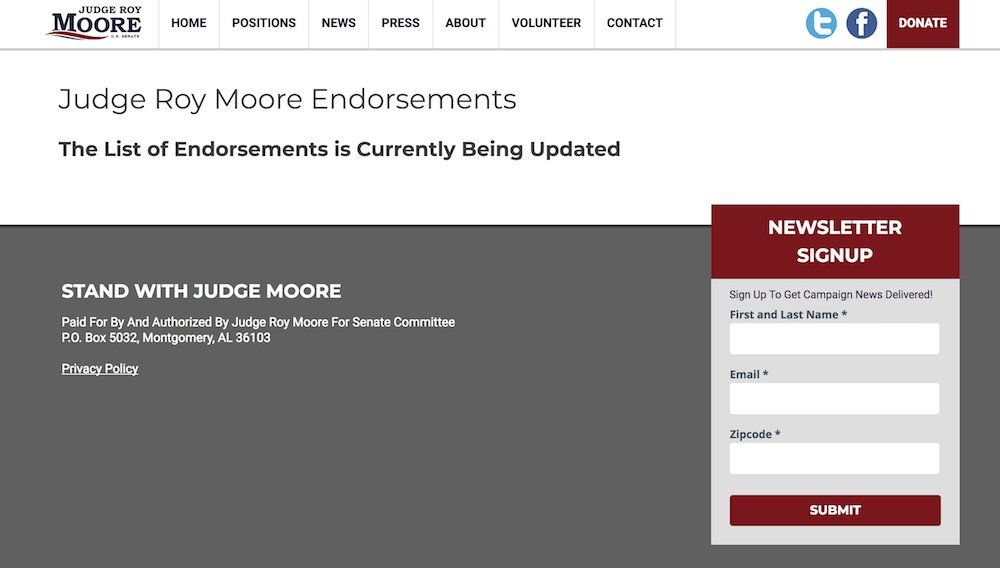 Roy Moore's endorsements disappear from his campaign website https://t.co/cytnFixSEu https://t.co/IjT1z3piNT