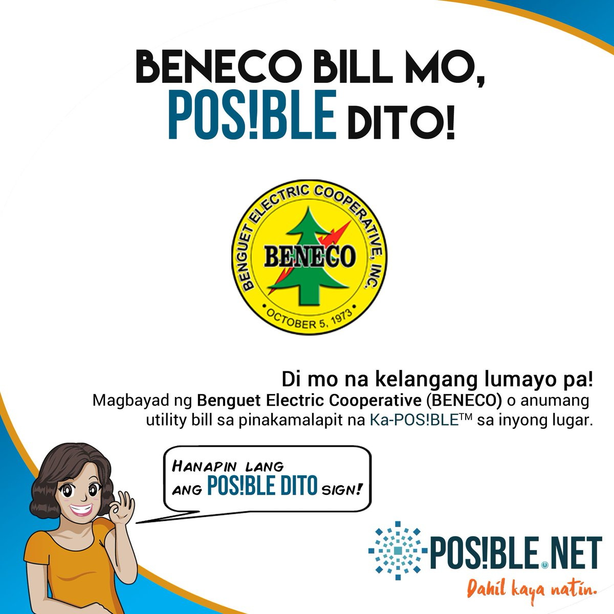 test Twitter Media - Di kelangan mamundok para magbayad sa BENECO! Punta na sa suking #KaPOSIBLE o hanapin ang #POSIBLEdito sign sa inyong lugar. It's so easy, di ba?  Haan mo en masapol umadayo! https://t.co/xl1fYA3AWo