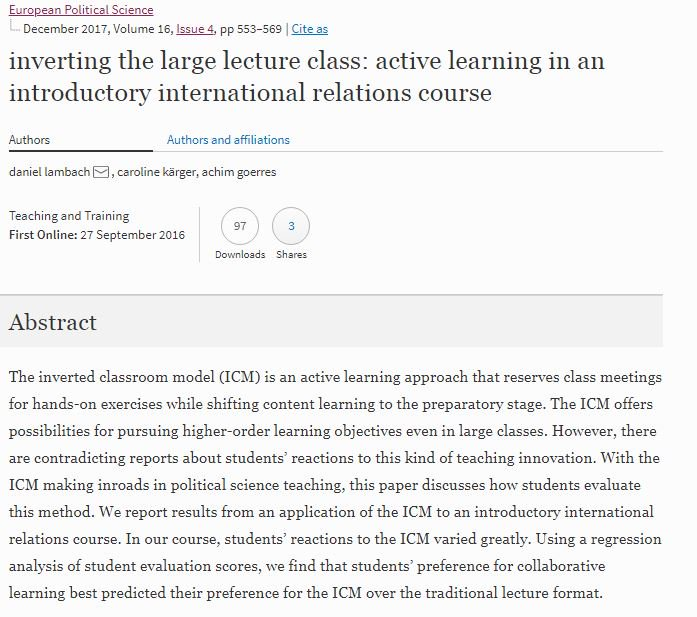 test Twitter Media - The article by @Emp_Politikwiss, Caroline Kärger and myself on the #invertedclassroom in #polisci is now out in the December issue of @EPSJournal. https://t.co/1AYU8qEuNR #powilehre https://t.co/f1KCbRZSdG