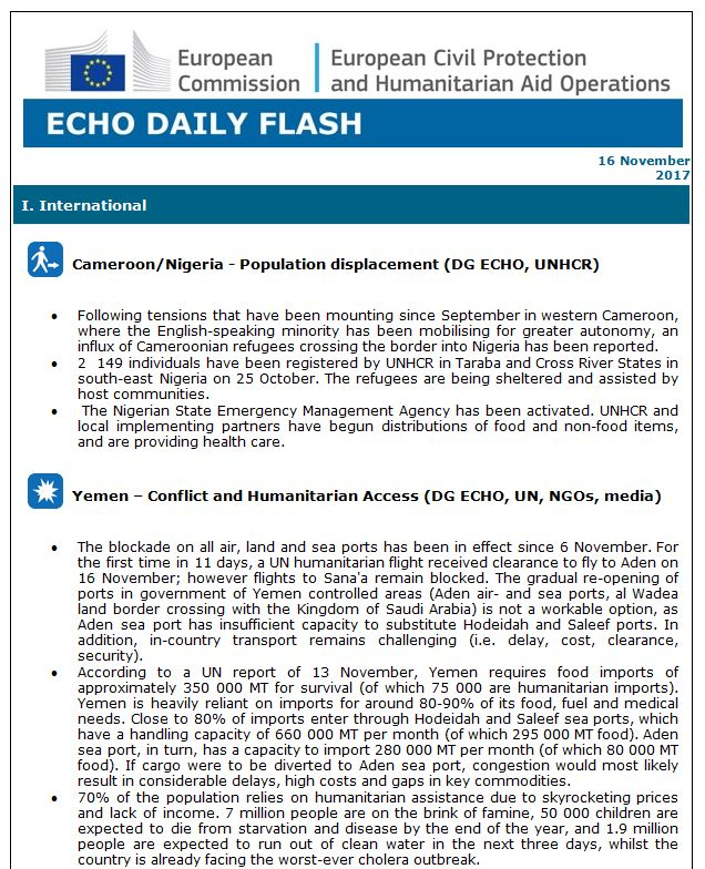 test Twitter Media - Daily Flash ⚡️| Influx of #Cameroonian refugees in #Nigeria | #Yemen - humanitarian access & #cholera outbreak | https://t.co/HRcEVd4GcO https://t.co/Ri906POxVB