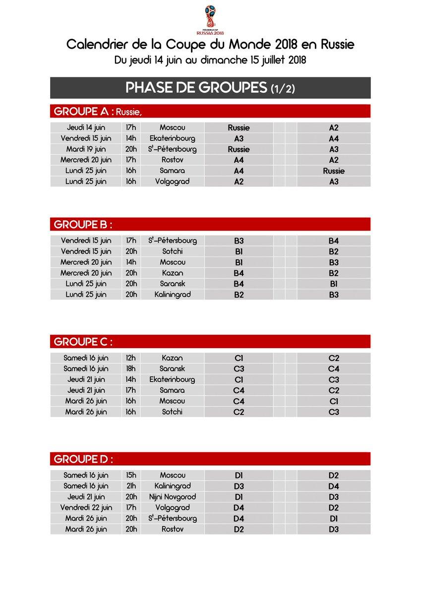 Le calendrier imprimer de la coupe du monde 2018 en - Coupe de monde handball calendrier ...