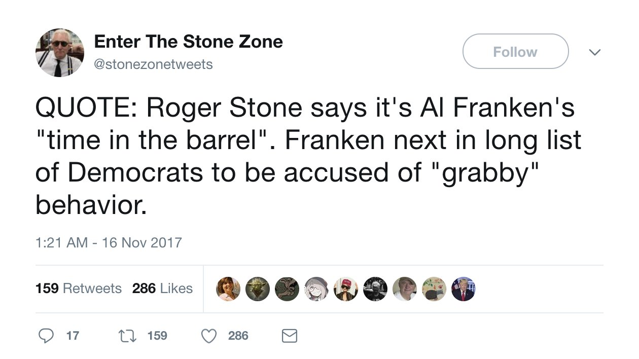 Roger Stone appeared to know Franken allegation was coming https://t.co/lls7qiNAal https://t.co/BBTNeXx6Ta