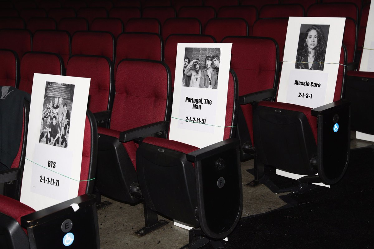 And so it begins! I spy three first-time #AMAs performers' seats.