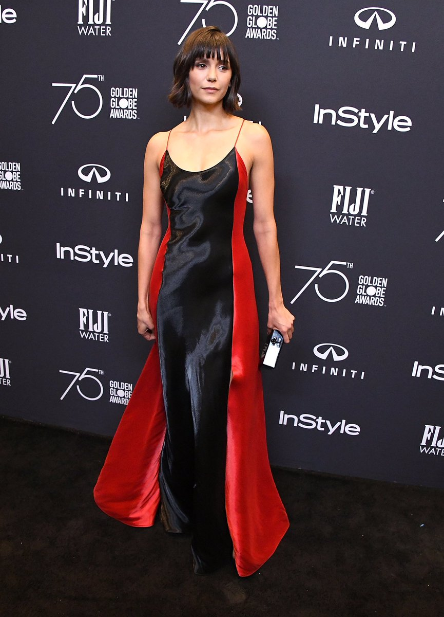 .@NinaDobrev in a Ralph Lauren Fall 2017 Collection gown at an @InStyle event celebrating #Globes75. #RLFall2017 https://t.co/YcqfZv5fo7