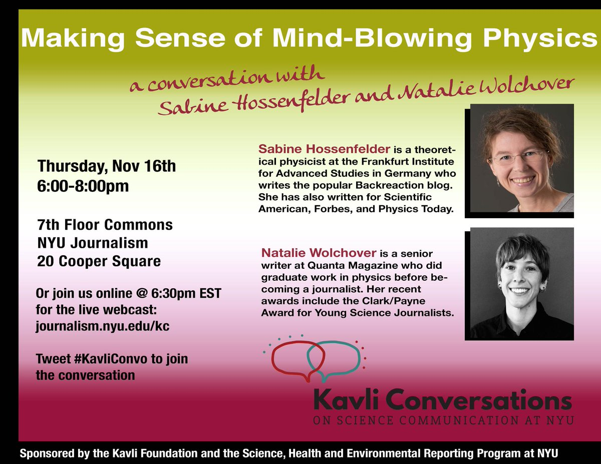 test Twitter Media - Happening now: Tune in to a live webcast on making sense of mind-blowing physics with Sabine Hossenfelder (@skdh) and Natalie Wolchover (@nattyover) https://t.co/d7Mzc4n1Nb #KavliConvo https://t.co/aZMB8Zp7Jb