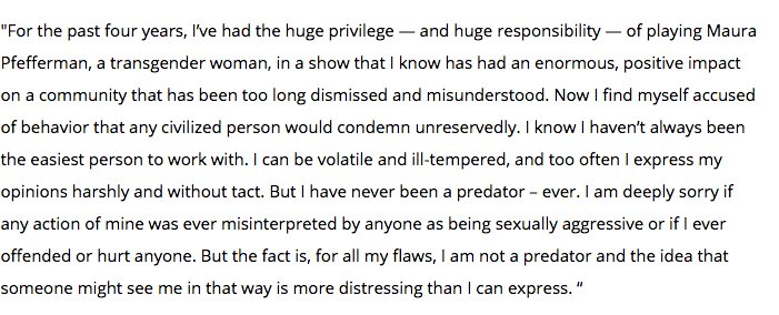 Tambor issued this statement to THR in response to Lysette's allegations