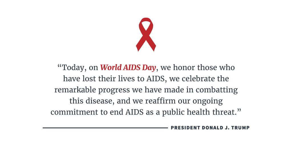 President Trump proclaims today as #WorldAIDSDay: https://t.co/AMqW8mWiak https://t.co/XGp8EelNzz