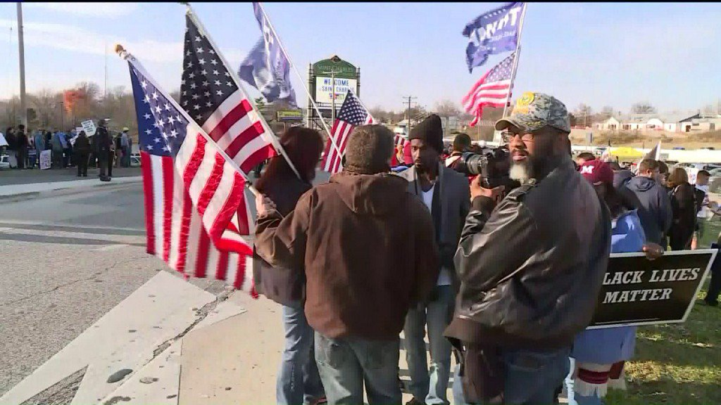 Trump supporters and protesters meet in St. Charles