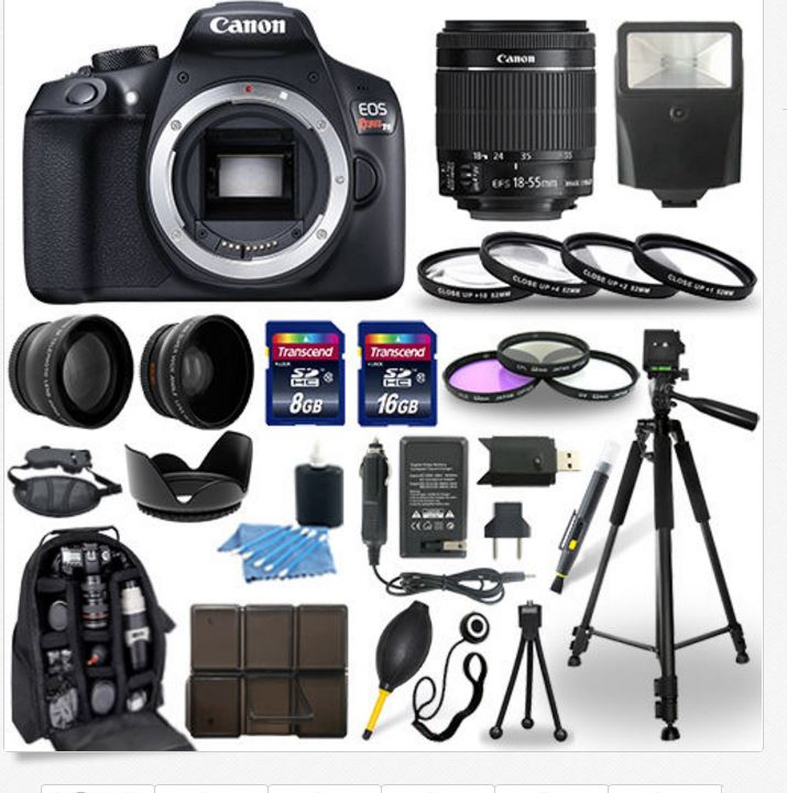 Canon EOS Rebel T6 SLR Camera + 18-55mm IS Lens + 30 Piece Accessory Bundle |...