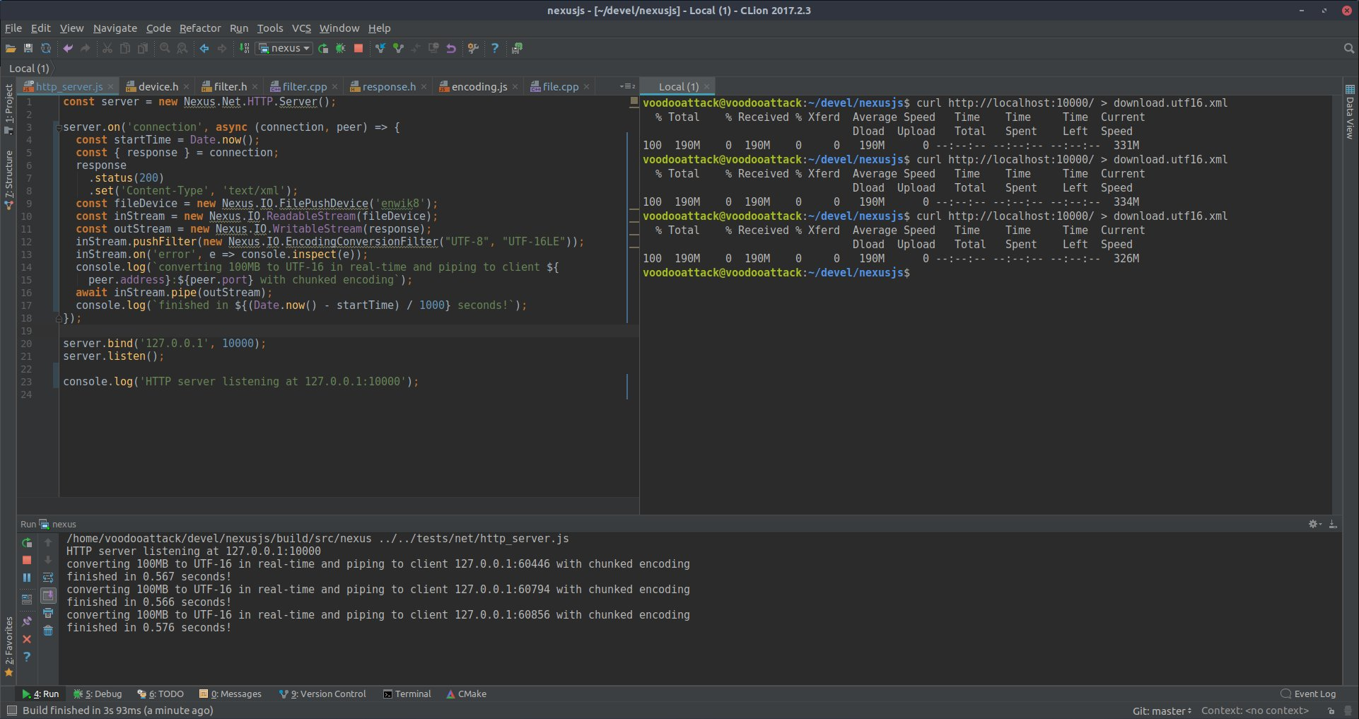 #devlog: Finally, true #multithreading in #javascript!  #NexusJS now supports live streaming using chunked encoding. Promises run on all #CPU cores.  🔥  This #code turns 100MB of UTF8 into UTF16  on the wire and lets the client download it as soon as chunks are converted, live! https://t.co/CFrNuFc20I