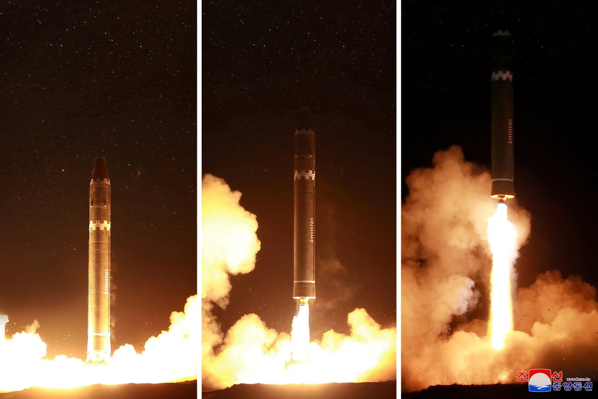 North Korea has released a dramatic video of its record-breaking Hwasong-15 missile launch