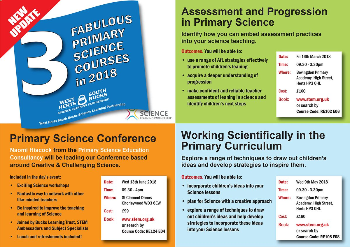 Three Primary Science courses in 2018 you do not want to miss! These include our fabulous Conference in June with @NaomiHiscock . Increase your confidence in teaching Primary Science and book on https://t.co/mr9HeYJ7tg https://t.co/S2Qzuow0gy