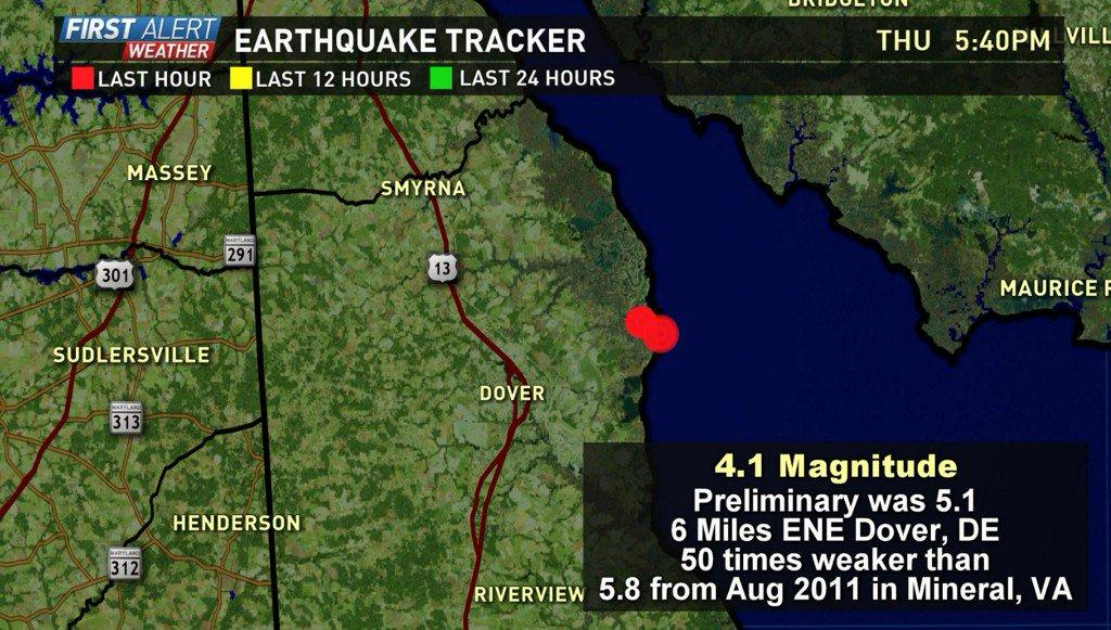 Earthquake shakes Delaware, tremors felt in Maryland