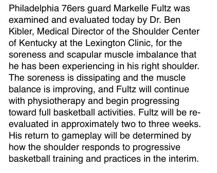 The Sixers say guard Markelle  fultz