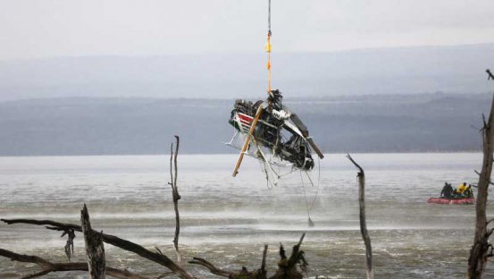 Salvage crew removes crashed helicopter from Lake Nakuru