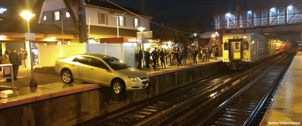 """""""Confused"""" driver ends up dangling halfway off train platform in Long Island."""