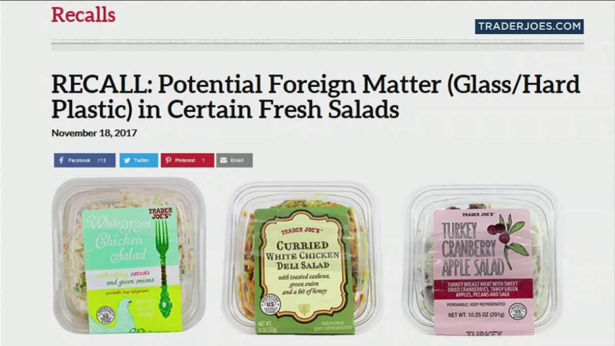 Trader Joe's recalling salads in CA due to glass shards, plastic