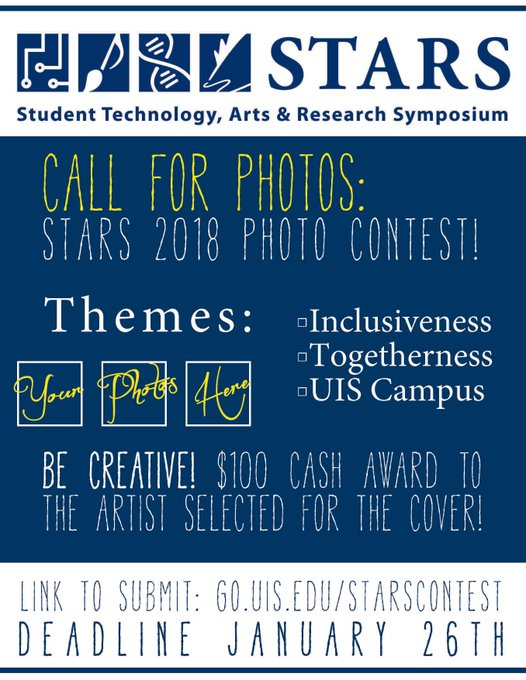 RT @UIS_URSP: The STARS program is looking for your photographs!  First prize is $100.  #UISSTARS  #UISedu #UISresearch https://t.co/1Mv3mP…